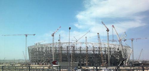Trabajos de construcción en 2014 en el Estadio Nacional de Bakú